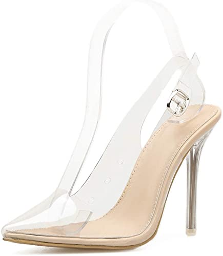 TYX-SS Frauen High Heel transparent Kristall Stiletto Schuhe Schnalle Sandalen