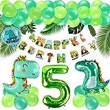 KATELUO Decoracion Cumpleaños Dinosaurios,Selva Fiesta de Cumpleaños Decoracion, Selva Fiesta de cumpleaños decoracion Niño,Decoración de globos de cumpleaños para niños. (5)