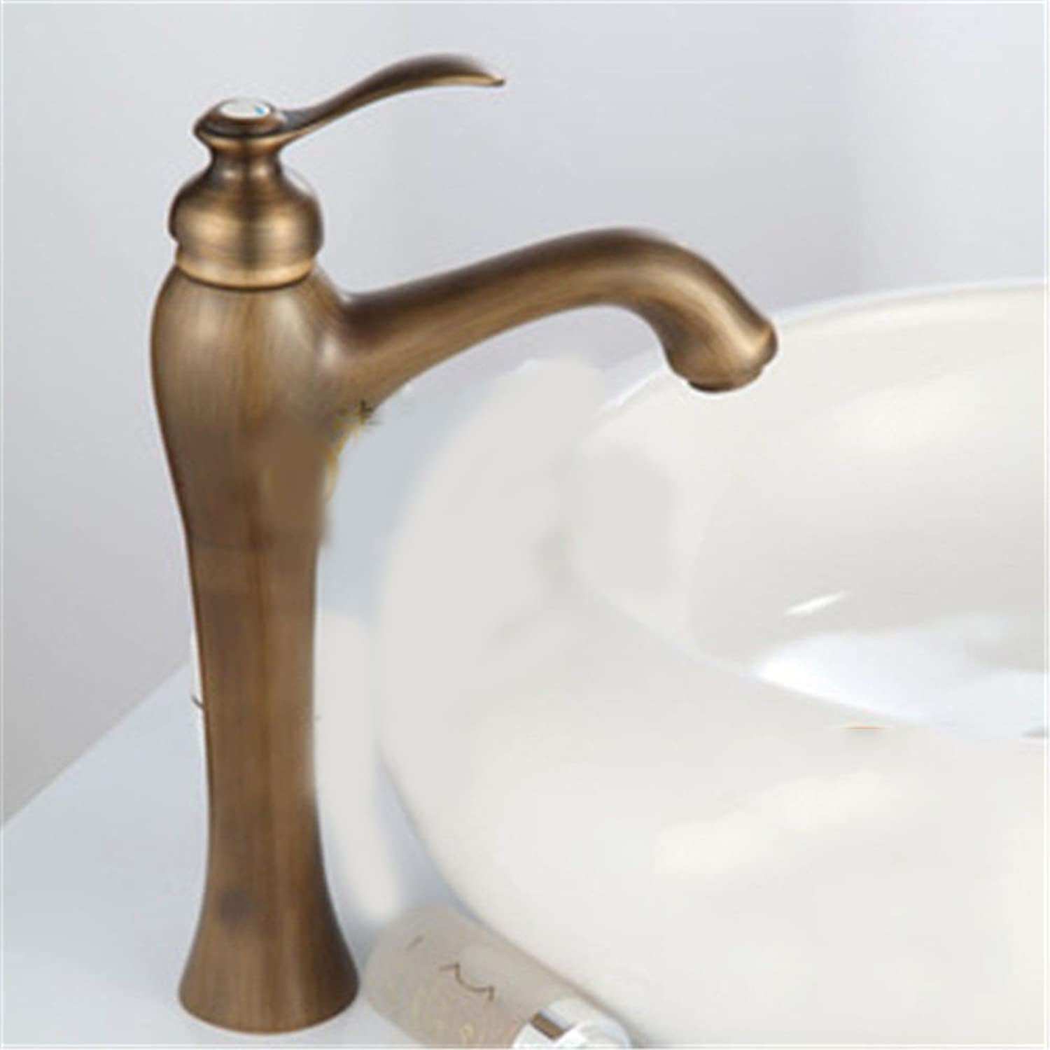 LHS Antique Bronze wash basin-wide heightening European hot and cold faucet