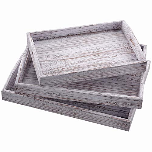 Rustic Wooden Serving Trays with Handle – Set of 3 – Large, Medium and Small Nesting Serving Trays - for Breakfast, Coffee Table/Butler Serving Trays – Multipurpose Bed Serving Trays - Rustic White