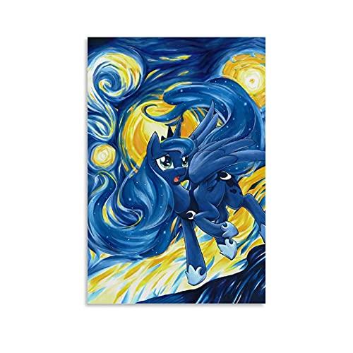 My Little Pony Princess Luna Starry Night - Percha para póster de madera para pared, fotos, estampados, lienzo de 40 x 60 cm