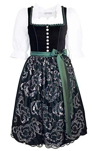Dirndl Samt schwarz Dirndlkleid Festtagstracht Trachten-Kleid Knöpfe mit Swarovski-Elements TAFT-Schürze grün Chiffon mit Pailletten Balkonett Ballkleid festlich, Größe:48