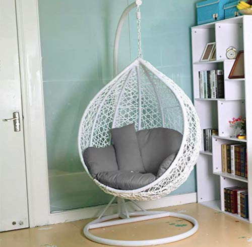 Chair Rattan Swing Patio Garden Weave Hanging Egg w/Cushion& Cover In or Outdoor (Double, Grey with Khakhi Cushion)