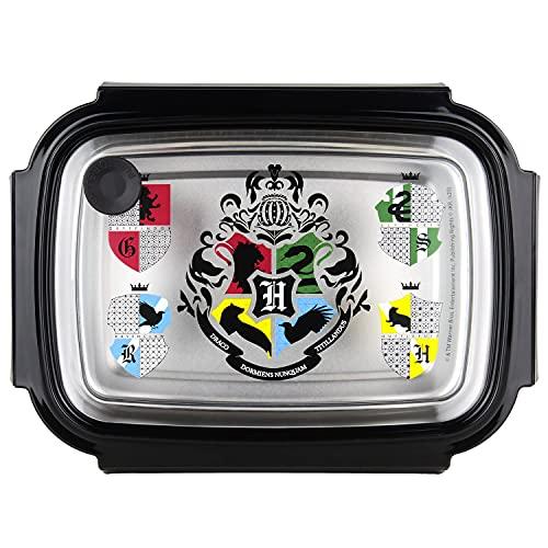 P:os Harry Potter 33444 – Boîte à Sandwich en Acier Inoxydable avec Fermeture à Clip Pratique et Anti-Fuite, env. 19,5 x 14,2 x 7,2 cm, idéale pour Le goûter à l'école, à l'université ou au Travail