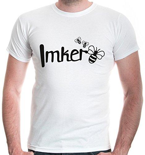 buXsbaum Herren T-Shirt Imker | Biene Honig Bienenzüchter Bienenflüsterer Bienenvolk | L, Weiß