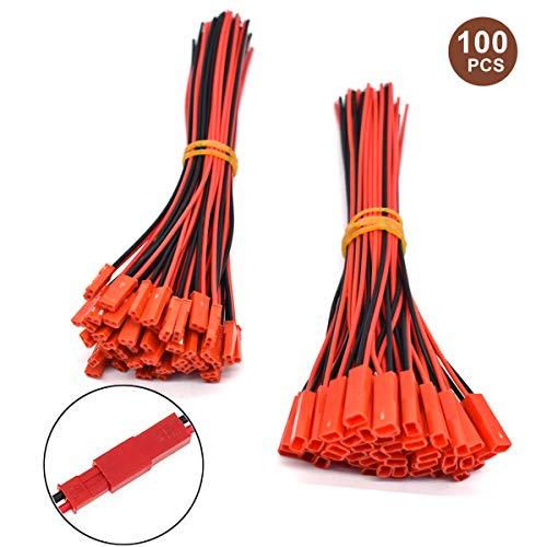 JST 2 Pin Steckverbinder Adapter,Yueser 50 Paare Männlichen und Weiblichen Stecker mit 150 mm Elektrisch Kabel für LED Licht RC Spielzeug Akku