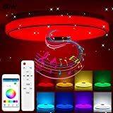 Tendlife Luz de techo Led Music con altavoz Bluetooth 36W, cambio de color RGB con aplicación y control remoto Luz regulable moderna Lámparas de dormitorio Lámpara de techo Luces de fiesta