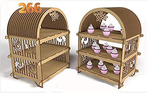 Kit para hacer estantería porta cupcake de madera DM para candy bar mesa dulce. Manualidades con madera