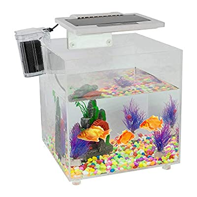 Acryl-Fischtank, Mini-Desktopaquarium, intelligentes Aquarium, mit LED-Beleuchtung, Schalter und internem Wasserfall-Filter, Mini-Aquarium für 25-45 cm Aquarien, 220-240 V (UK-Stecker) ...