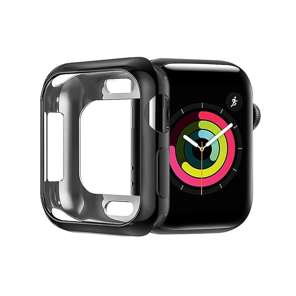 保守可能めまいメンタルApple Watch 5 40mm ケース A-VIDET メッキ加工 柔らかい TPU ソフトケース 落下防止 軽量超簿 耐衝撃性 脱着簡単 褪せない アップルウォッチ5 ケース 超薄型カバー Apple Watch Series 5/4 40mmに対応 (ブラック)