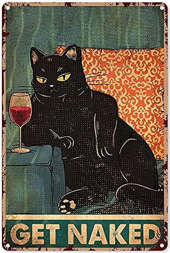 Cartel de metal para cocina, estilo vintage, con diseño de gato y vino, diseño divertido de gato y vino, de aluminio, para cocina, hogar, dormitorio, garaje, baño, 20,3 x 30,5 cm