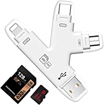 YiKaiEn 4 in 1 SD SDHC Card Reader with Lightning USB Micro-USB Type-C Connector Extral Memory Flash Drive for iPhone/iPad/Android Phones/Mac/PC,Picture and Video Viewer for Camera
