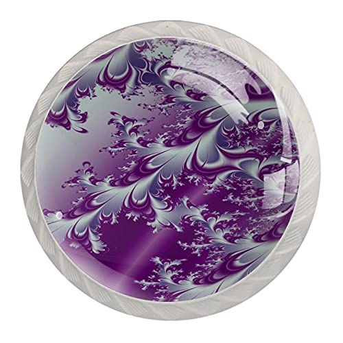 Cabinet Knobs Drawer Handles Purple Abstract Painting Door Pulls Decorative Knobs Fashion Gift for Bedroom Kitchen Bathroom 4 Pieces 1.37x1.10x0.66 in