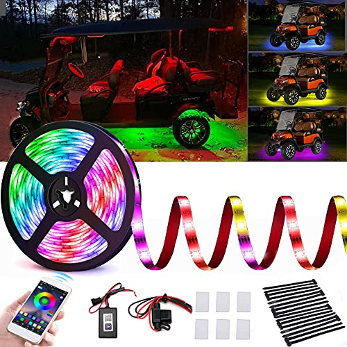 Roykaw Golf Cart Underglow LED Lights Strip Kit Waterproof Accent Neon Lighting Kit for EZGO Yamaha Club Car- Bluetooth...