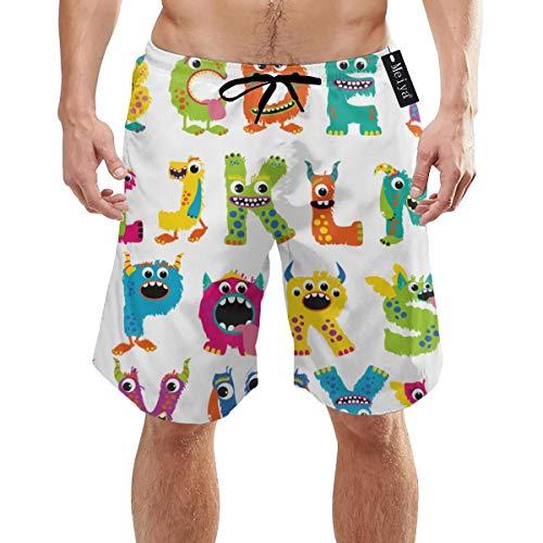 Ye Hua Monster Alphabet Herren Jungen Kurze Badehose mit Mesh-Futter Schnelltrocknende Herren Badeanzüge Badeshorts XL