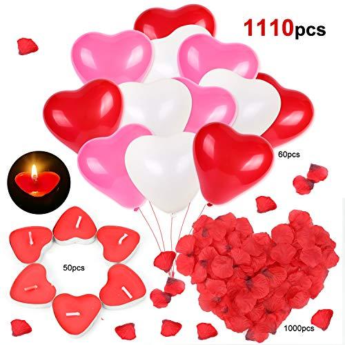HOWAF Kit Romántico de Velas, Globos y Pétalos. 50 Velas en Forma de Corazón + 1000 Pétalos de Rosa Roja de Seda + 60 Globos Corazón Rojo Rosa Blanco, Decoración para San Valentín, Bodas y Compromiso