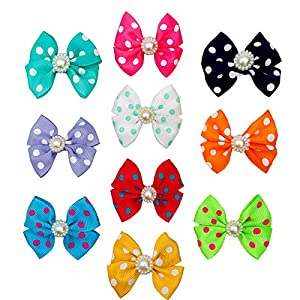 PET SHOW Dot Small Dogs Hair Bows with Clips Bowknot French Barrette Clips for Pet Puppy Cat Grooming Hair Accessories Topknot Pack of 10
