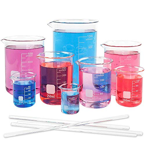 SUPERLELE 8pcs Glass Graduated Beaker Set 25, 50, 100, 200, 250, 400, 500, 1000ml, Multiple Capacity Borosilicate Glass, Low Form Griffin Thick Wall Type Measuring Beakers with 4 Stirring Rods