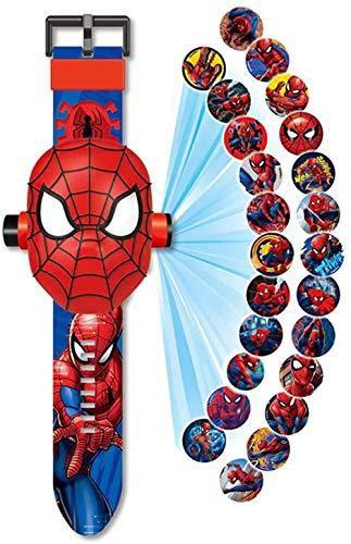 Montre Spiderman projecteur de 24 Figurines Super héros, Spider-Man Montre electronique Enfant garçon, Projection Spiderman Jouets