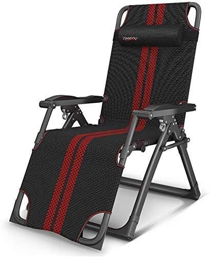 Chaises de jardin Office Life Chaises de camping Chaise longue pliante Chaise longue de jardin zéro gravité surdimensionnée avec coussin et coussin, support inclinable réglable 300 kg (Couleur: 100