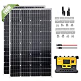 240W Solar Panel Starter Kit with 20A LCD Charge Controller & Cable & Z Brackets & Connector, 2pcs 120W Monocrystalline Solar...