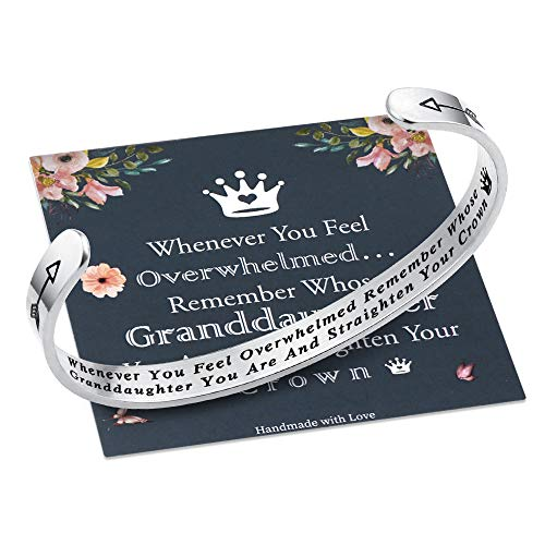 M MOOHAM Whenever You Feel Overwhelmed Remember Whose Granddaughter Straighten Your Crown Bracelet, Granddaughter Bracelet from Grandmother Granddaughter Gifts (Granddaughter Crown Bracelet)