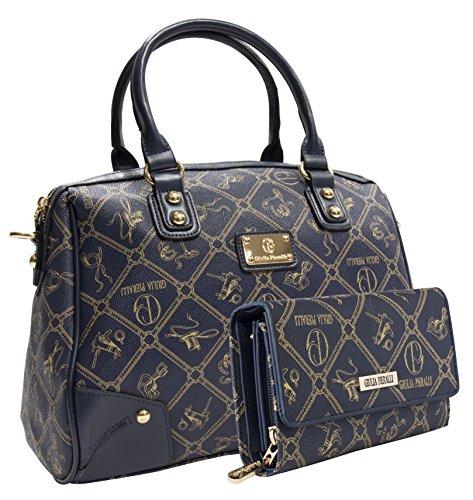 Giulia Pieralli Damentaschen + Geldbörse als SET Handtaschen Damen Handtasche Geldbörse Tasche Henkeltasche Markentasche Blau 2622B + G001