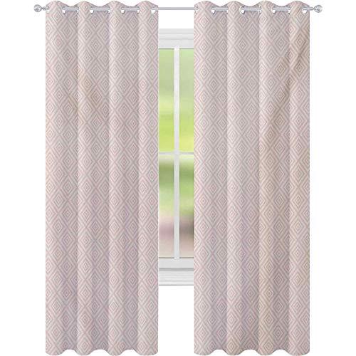 Room darkening window curtains, Vintage Geometric Diamond Line Tile Pattern Pastel Color Nested Rhombus Print, W52 x L63 Blackout Curtains for Bedroom, Peach Cream