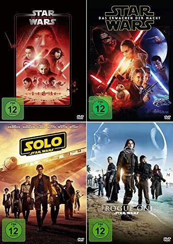 Star Wars 4er Set - Erwachen der Macht + Die letzten Jedi + Rogue One - A Star Wars Story + Solo - A Star Wars Story