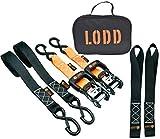 LODD - Cinturino a cricchetto di alta qualità - Coppia di cinghie di fissaggio 1,5T, 38mm x 3,4m, ganci di fissaggio plastificati + 2 anelli morbidi + borsa da trasporto (rimorchio, moto, quad...)