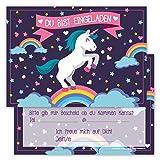 Lustige Einladungskarten für Kindergeburtstage für Jungen oder Mädchen (Einhorn auf Regenbogen, 12 Stück im Kartenset)