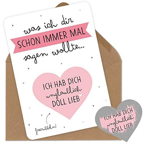Rubbelkarten Grußkarten mit Umschlag Ich hab dich ganz doll lieb für den Freund die Freundin den Mann der Frau der Mama den Papa zum Jahrestag Geburtstag Hochzeitstag