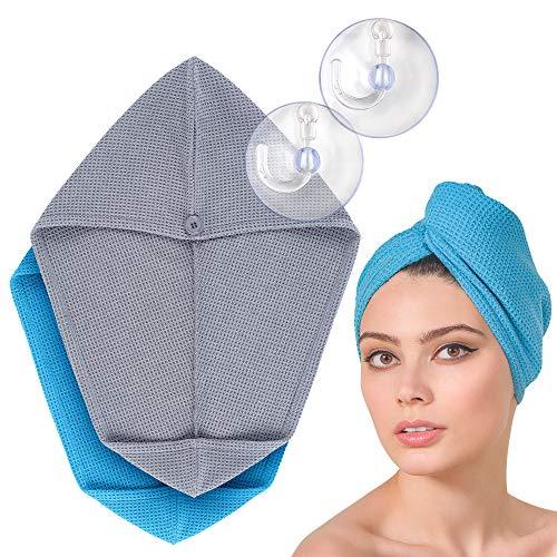 FABCARE Haarturban Schnelltrocknend - DERMATEST: SEHR GUT - Extra Saugfähiges Haarhandtuch mit Knopf - Turban Handtuch aus Mikrofaser für Lange Haare [2 Stück, grau/blau]
