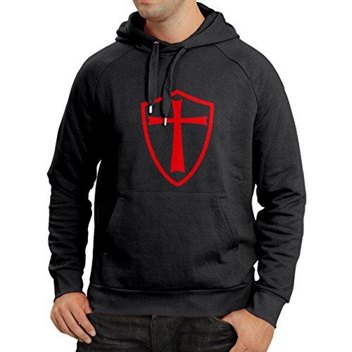 lepni.me Sudadera con Capucha Caballeros Templarios - Escudo de los Templarios (Medium Negro Rojo)
