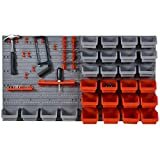 DURHAND 44 Pcs On-Wall Garage DIY Storage Unit w/ 28 Cubes 10 Hooks 2 Boards Screws Organisation Pegboard Tool Equipment Tidy Caddy
