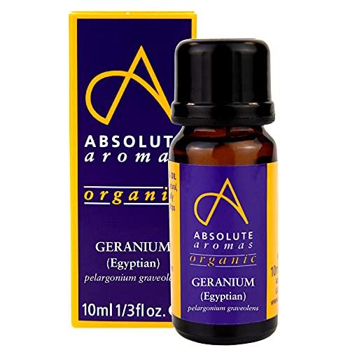 Absolute Aromas Olio Essenziale di Geranio Egiziano Bio 10 ml - 100% Puro, Naturale, Non Diluito, Vegano e Cruelty Free - Per Uso in Diffusori e Miscele per Aromaterapia