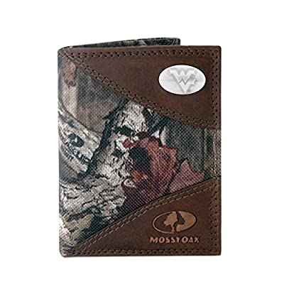 NCAA West Virginia Mountaineers Zep-Pro Mossy Oak Nylon and Leather Trifold Concho Wallet, Camouflage, One Size