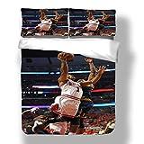 Juego de funda nórdica Derrick Detroit Basketball Player 25 ropa de cama Poohdini Rose Pistons Super Star Score A Basket Hoop Edredón con 2 fundas de almohada Chicago Minnesota Bulls Timberwolves