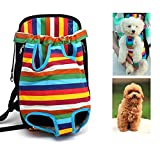 MGJX Mochila de viaje al aire libre colorida del animal doméstico de la mochila del portador del animal doméstico, arnés de pecho del perro del gato del hombro doble
