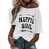 SMILEQ Top de Manga Corta de Las Mujeres Hippie Soul Letra Impresa Camiseta O Cuello Flojo Chaleco Blusa (S, Blanco)
