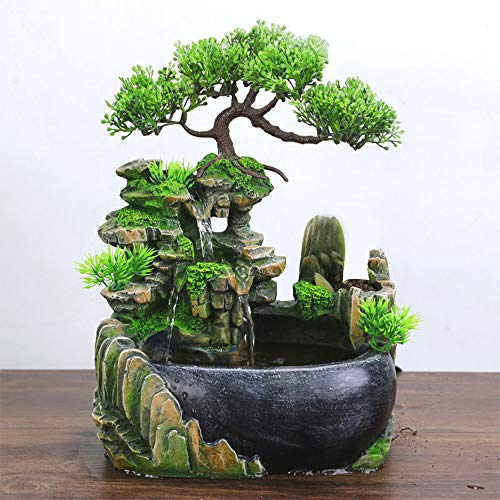 SURPRIZON Mini Indoor Relaxation Fountain Waterfall with Rockery, Aquariums, Plant, Moss for Office and Home Décor