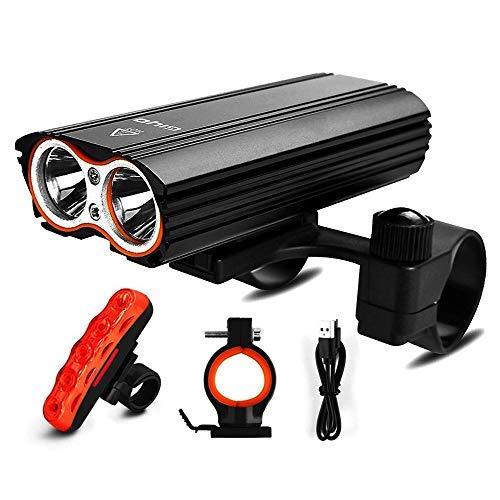 LED Fahrradlicht Set, Fahrradlampe 2400 Lumen IP65 Wasserdich Fahrradbeleuchtung, USB Aufladbare Fahrradlichter Superhelle Frontlicht 360° Rotation, 4400mAh 3 Licht-Modi