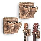 2 Pack Guitar Wall Hanger, Guitar Wall Mount Guitar Holder Ukulele Hanger Bracket Wood Hanging Holder for Acoustic Electric Guitar Bass Banjo Mandolin Brown