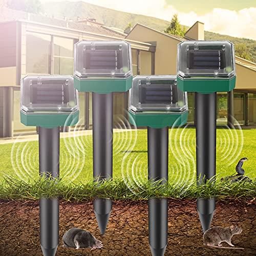 Repelente de Topo Solar, 4 Piezas Ahuyentador de Topos Solar, IP65 impermeable Repelente de Ratones Solar, Repelente Solar Ultrasónico para Jardines, Céspedes, Roedores, Serpientes,Topillos