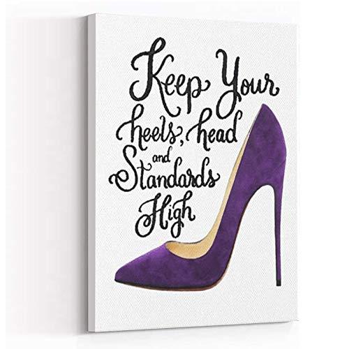 BEDROOM WALL DECOR ,Home Decor ,Hippie Room Decor ,Canvas Quote Keep your head Heels standards high heels head high Purple shoes,8''x12'' Framed Modern Canvas Wall Art,