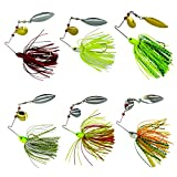 Fishing Spinner Baits Kit - Hard Spinner Lures Multicolor Buzzbait Swimbaits Pike Bass Jig 0.64oz (6pcs Spinner Baits)