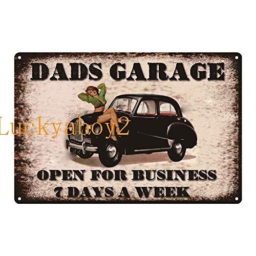 Ami0707 Plaque Vintage Vintage Shed Metal Sign Plaque My Garage My Rules Dad's GARAGE Retro Metal Tin Sign Car Repair Man Cave Wall Art Decor 20x30cm SW323