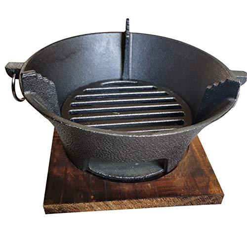 KONFA Parrilla de Barbacoa de Hierro Fundido Grueso Horno de carbón Parrilla de Barbacoa de carbón Redonda Adecuada para Barbacoa casera,Negro,20 * 12cm