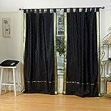Indian Selections Negro Tab Top Pura Sari Cortina/Drape/Panel–par, poliéster, Black: Matching Lining, 43 X 36 Inches (Caf� Curtain) (109 X 91 Cms)