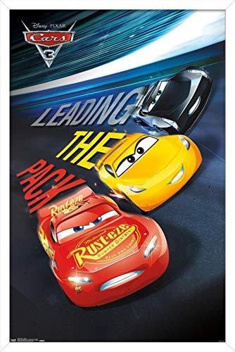 Trends International Disney Pixar Cars 3 - Group Wall Poster, 22.375' x 34', White Framed Version